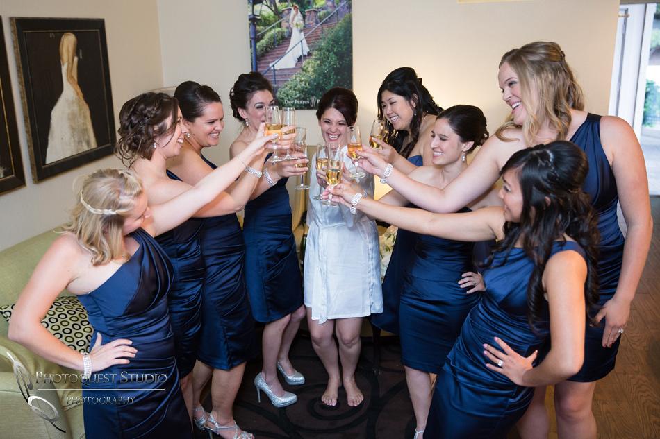 Bride and bridesmaids cheering at Pala Mesa Resort Fallbrook Wedding
