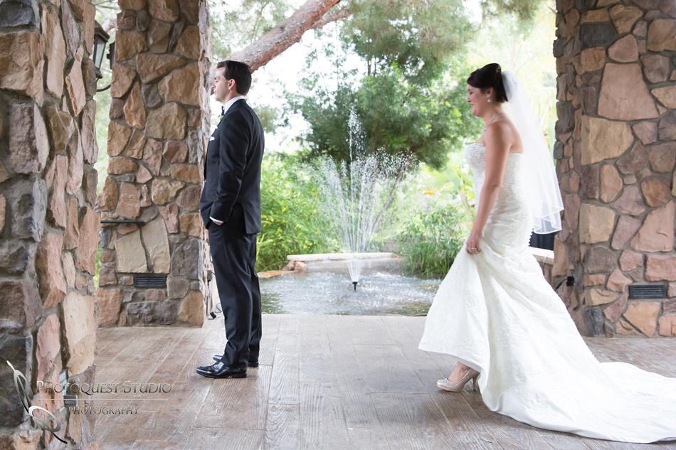 First look Wedding photo at Pala Mesa Resort Fallbrook by Temecula Wedding Photographer