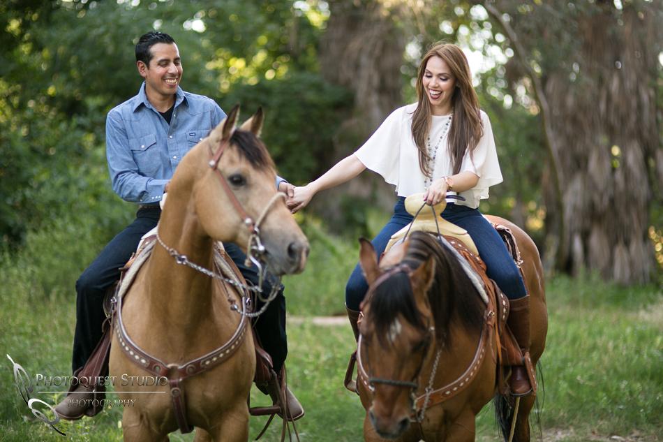 Hold hand on horse back Fairmount Park, Mission Inn, Riverside Downtown, California Engagement Photo
