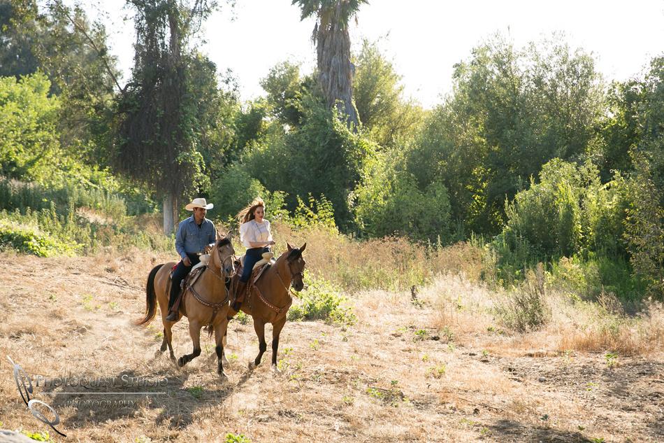 Engagement Photo with Horses by Temecula Wedding Photographer