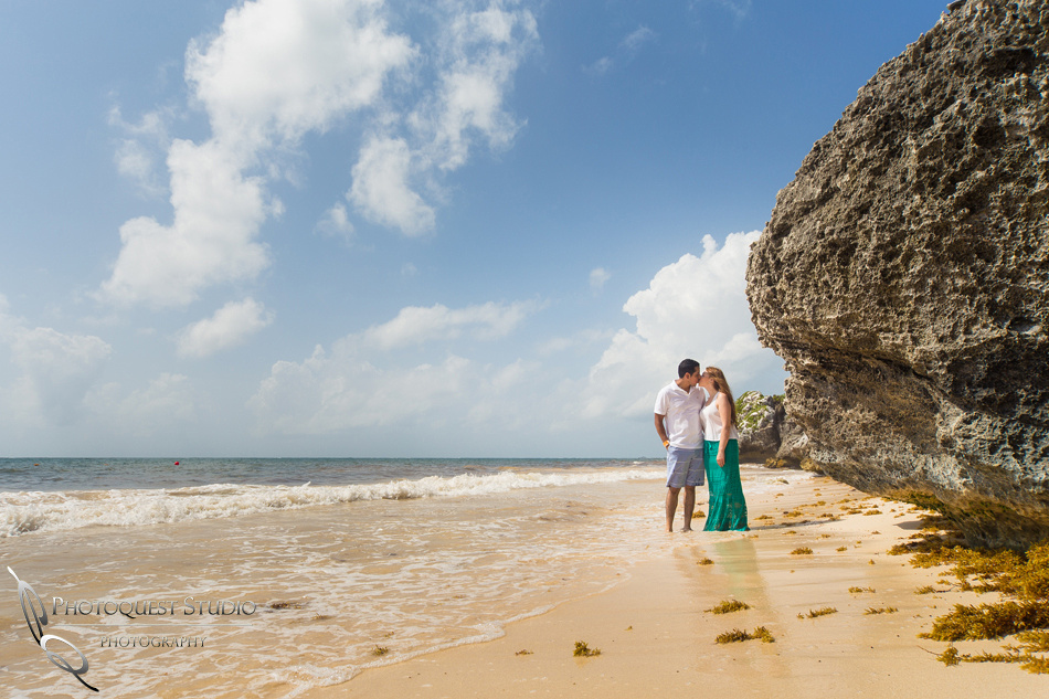 kissing on the beach, honeymoon photo in cancun mexico by temecula wedding photographer