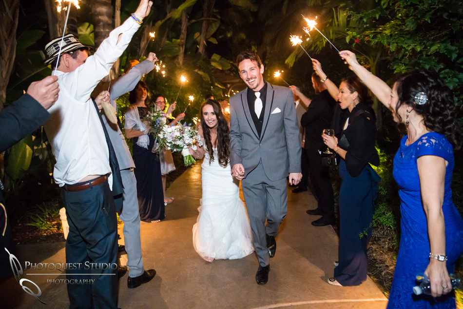 sparklers exit wedding photo with Bride and groom