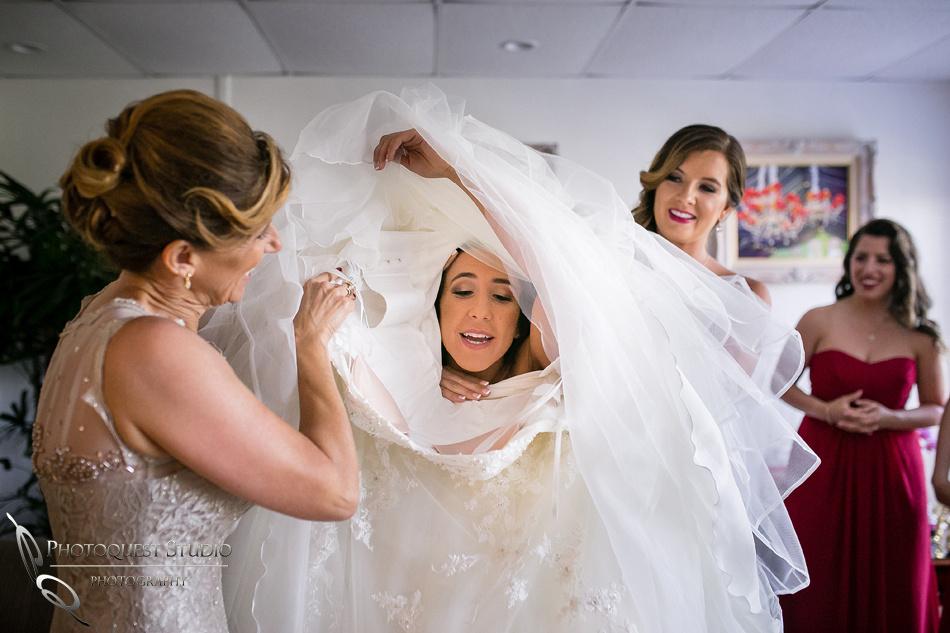 bride head in the wedding dress
