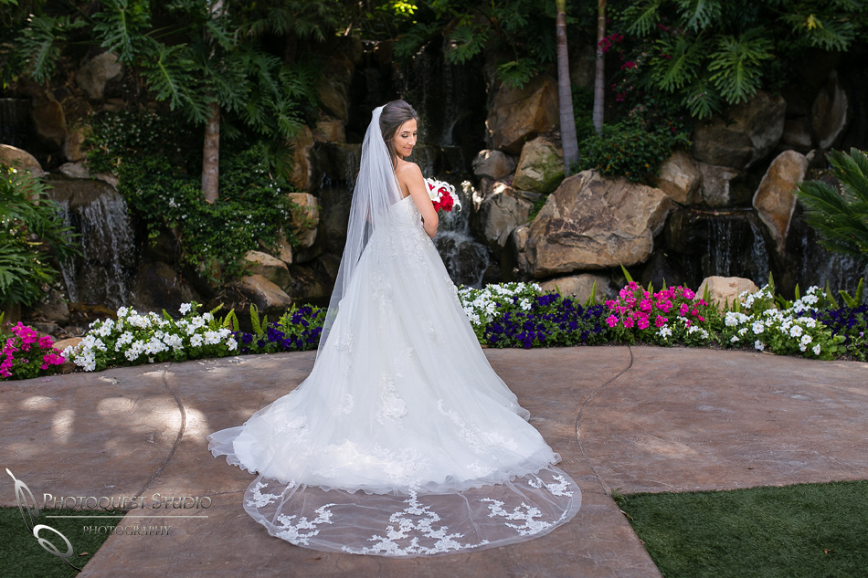 Bride, dress and veil at Grand Tradition Estate Fallbrook by Temecula Wedding Photographer