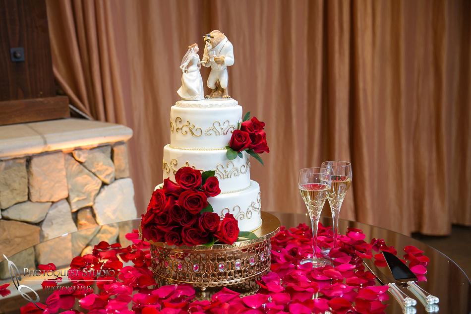 Disney Princess, Beauty and the Beast wedding cake by Temecula Wedding Photographer