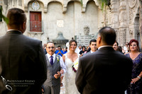 Bride wink at the groom at Mission Inn Hotel Wedding