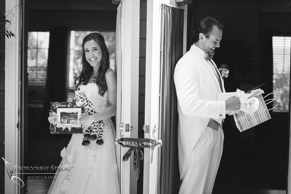 bride and groom wedding gifts to each other at fallbrook wedding by temecula photographer