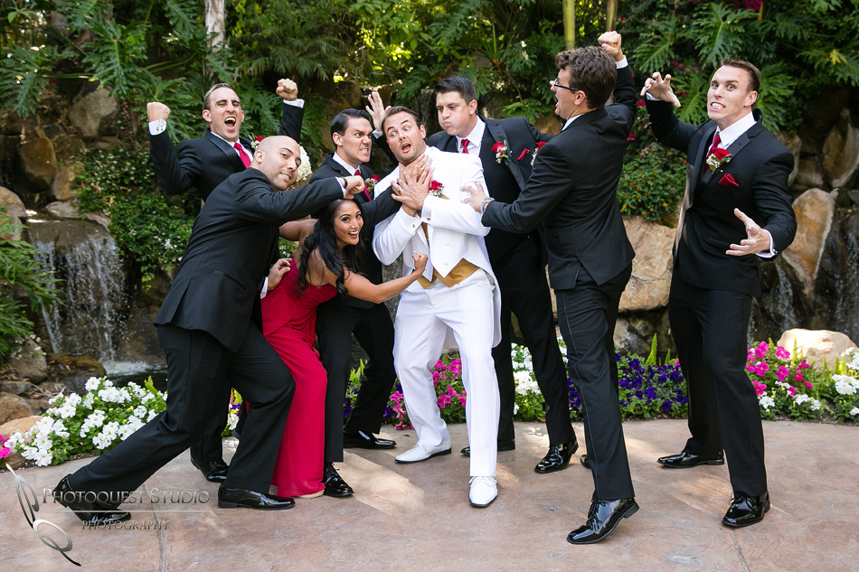 the groom in trouble at Grand Tradition Estate Fallbrook by Temecula Wedding Photographer