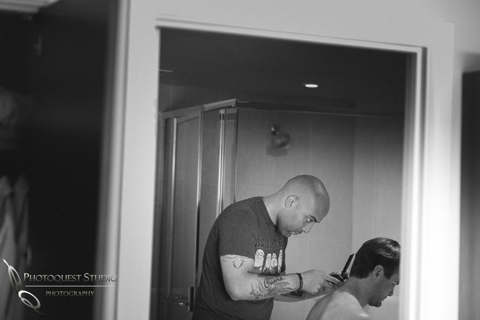 Bestman trimming the Groom hairs