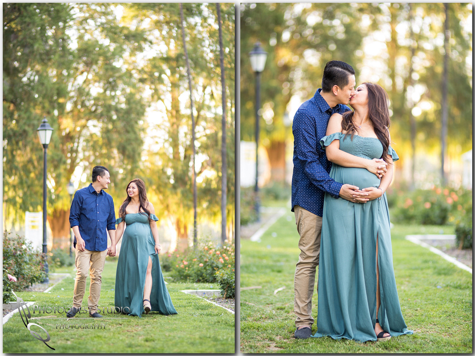 Walking and Kissing at Maternity-Photo-in-Riverside-by-Temecula-Wedding-Photographer