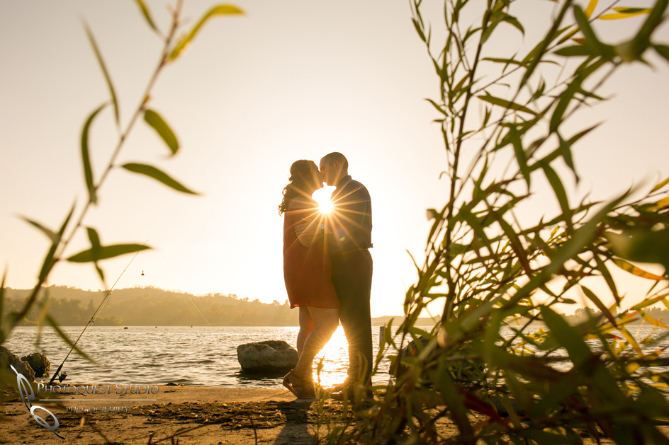 Kissing at Sunset, Temecula-Wedding-Photographer,-Engagement-Photo-at-Frank-G-Bonelli-park