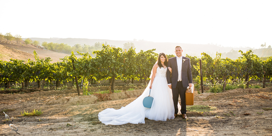 Wedding Photo with briefcase at Leoness Cellars by Temecula Winery Photographer