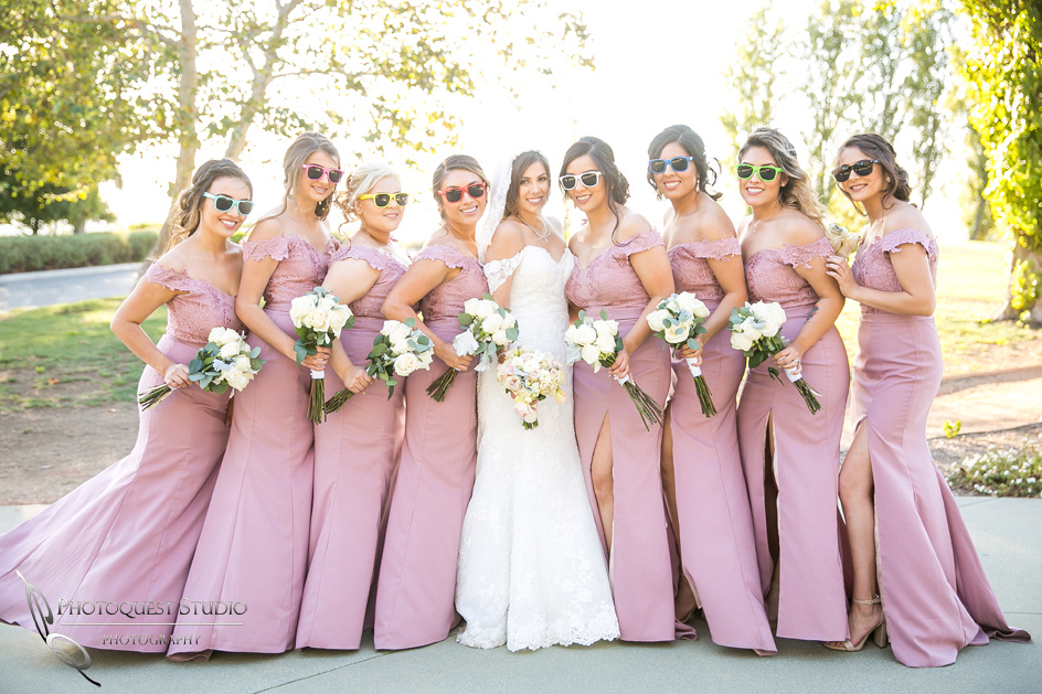gorgeous bridal party with color sun glasses
