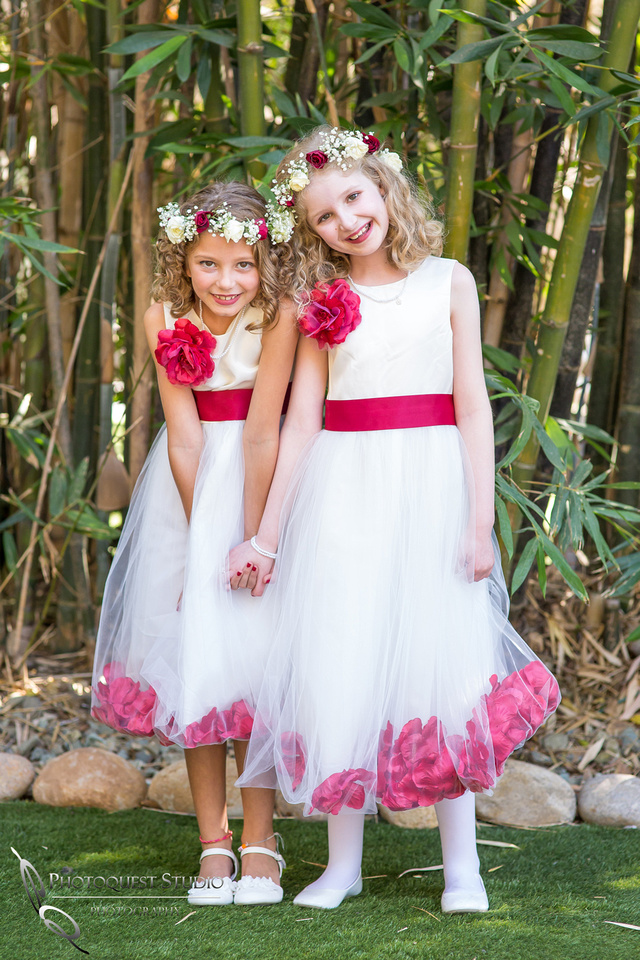 beautiful flower girls in white dress