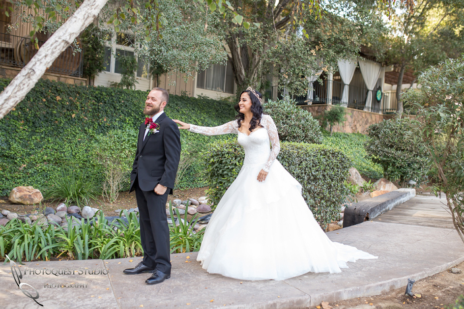 Sweet first look moment by Temecula Wedding Photographer