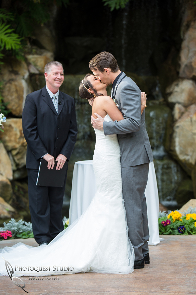 The first kiss at Grand Tradition Estate Fallbrook by Wedding Photographer in Temecula
