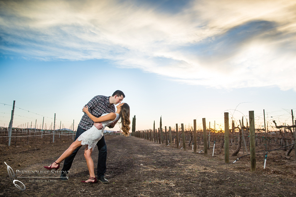 Kissing at sunset at Wiens, Temecula Winery Wedding Photographer