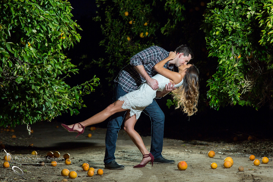 dipping and kissing by Temecula wedding photographer