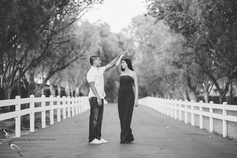 Dancing in black & white engagement photo by Wedding Photographer in Temecula