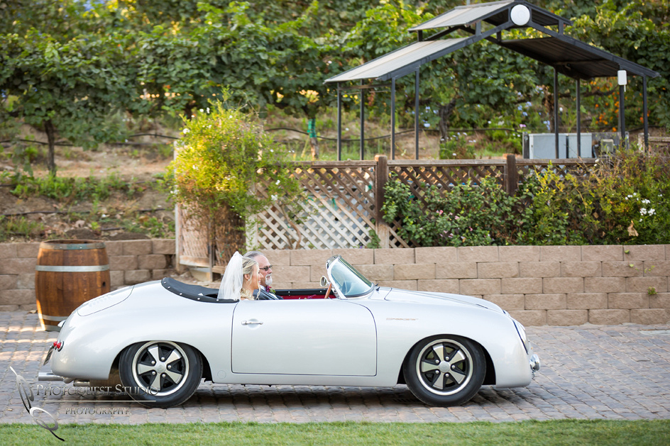 Classic car and lake oak meadows wedding