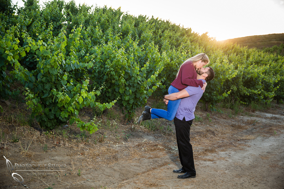 Kissing at sunset, Temecula valley winery wedding photographer