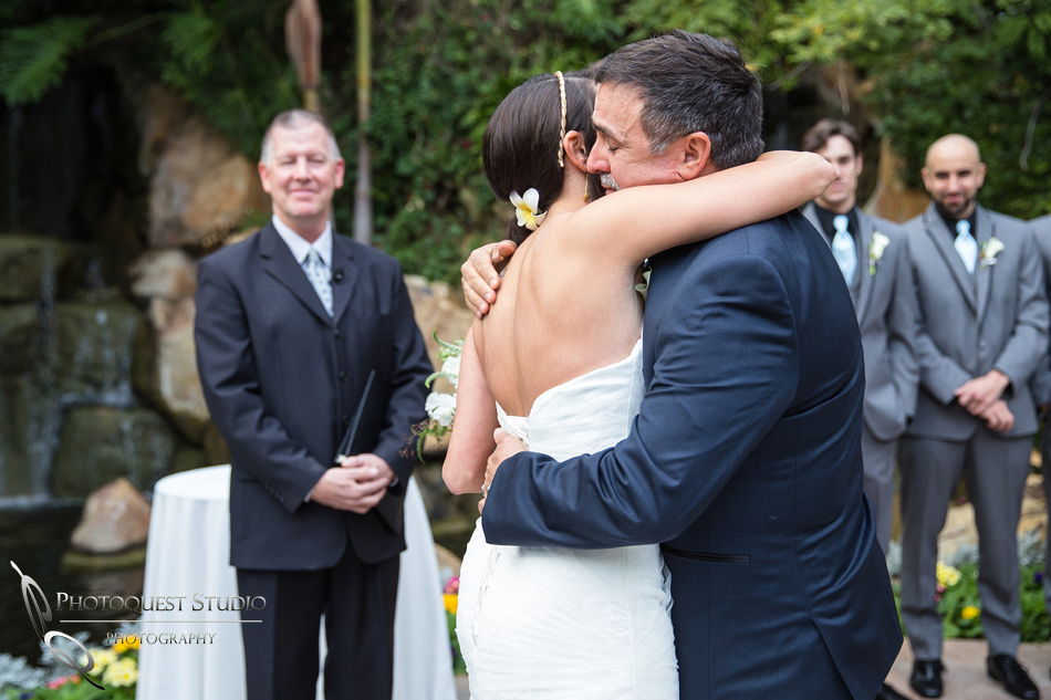 Father and the Bride hugging. Wedding photos at Grand Tradition Estate Fallbrook by Wedding Photographer in Temecula (229)