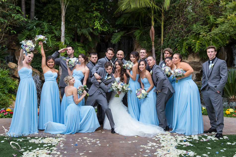 The fun wedding party with bride and groom. Wedding photos at Grand Tradition Estate Fallbrook by Wedding Photographer in Temecula