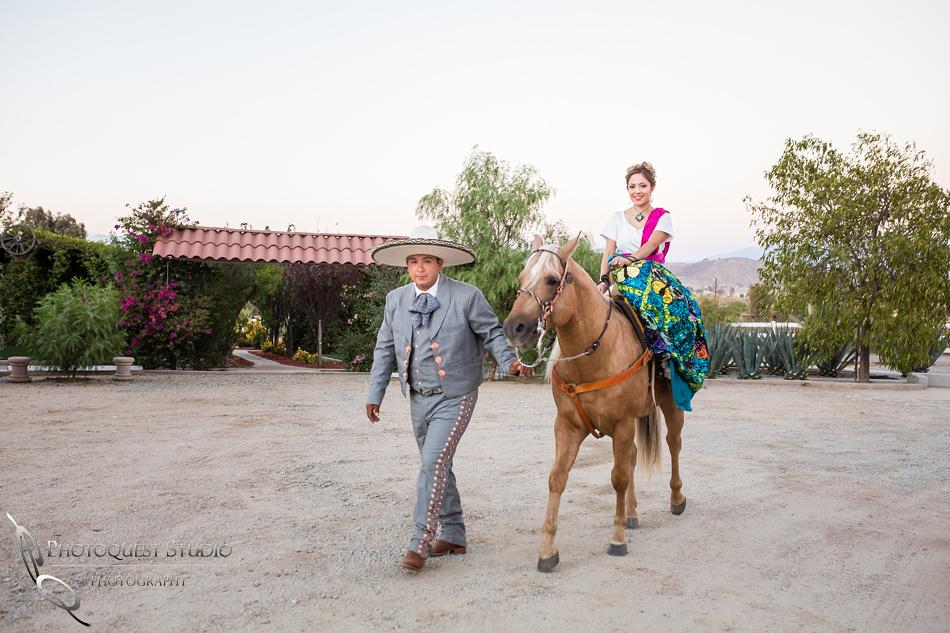 Engagement Photo with horse by Menifee, Temecula, Fallbrook Wedding Photographer