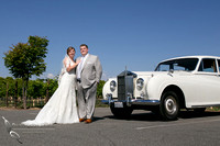 Wedding photo with Rolls Royce car at Wiens Winery by Temecula photographer, Chloe and Colby