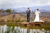 Groom fishing on Wedding day at Ponte Winery by Temecula Wedding Photographer of Photoquest Studio Photography