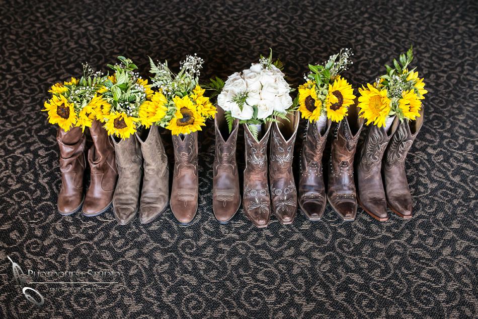 Cowboy boots and flowers by Temecula Wedding Photographer