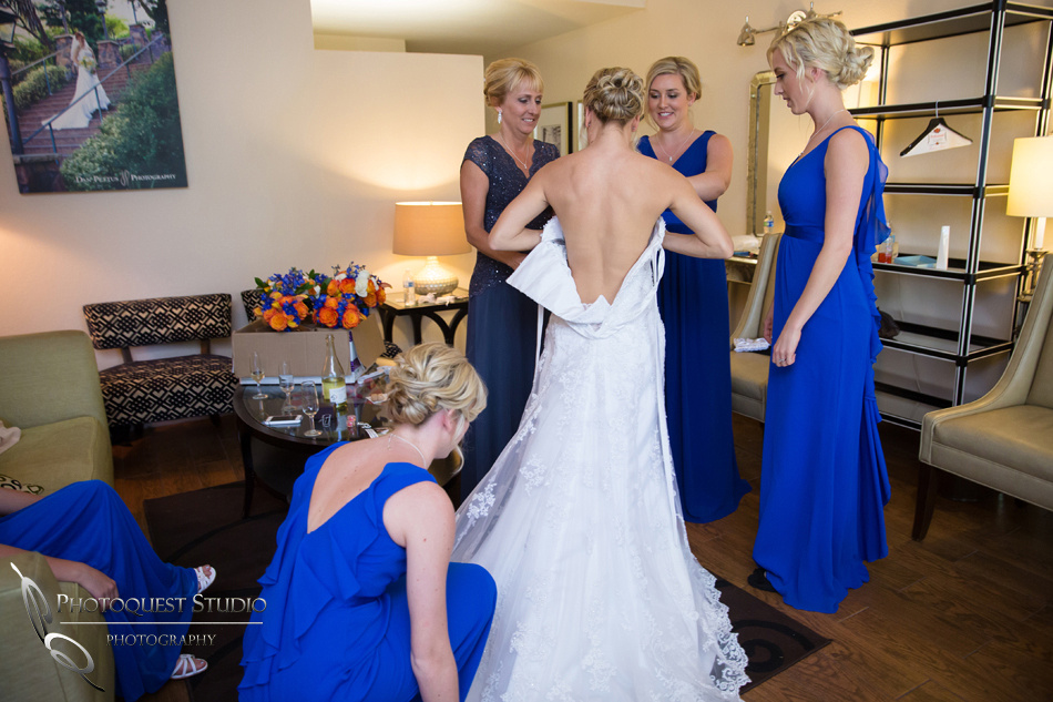 Bride open back dress by Temecula Wedding Photographer