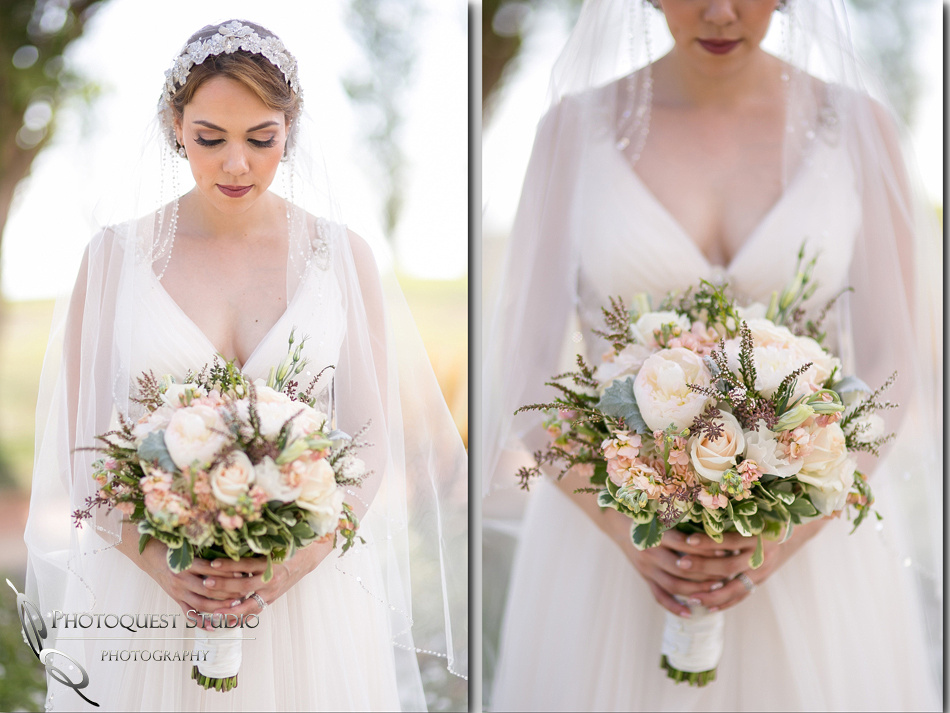 beautiful bride and her bouquet by temecula wedding photographer