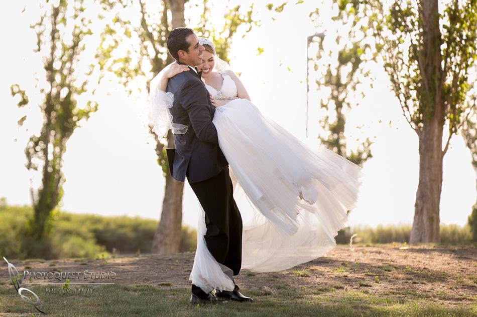 bride and groom happy dance