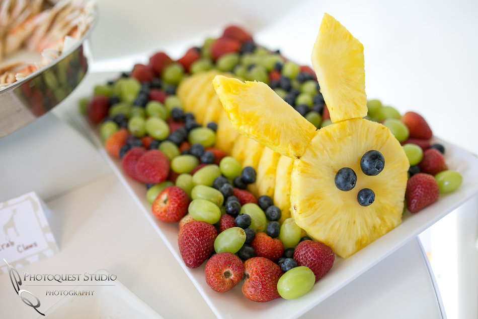 Bunny pineapple on fruit plate at 1st Birthday Party