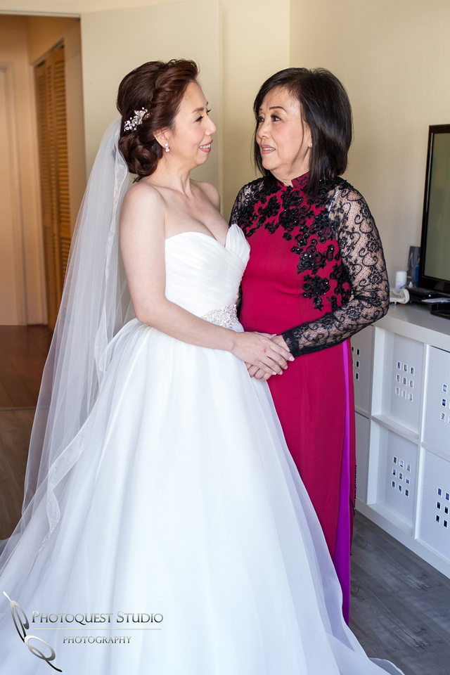 Bride and her Mother, Chapel of Orange and Brodard Chateau Wedding - Uyen and Danny