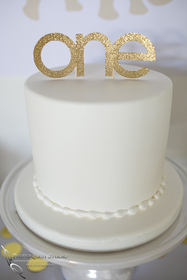 1st Birthday cake at Party White and Gold Theme