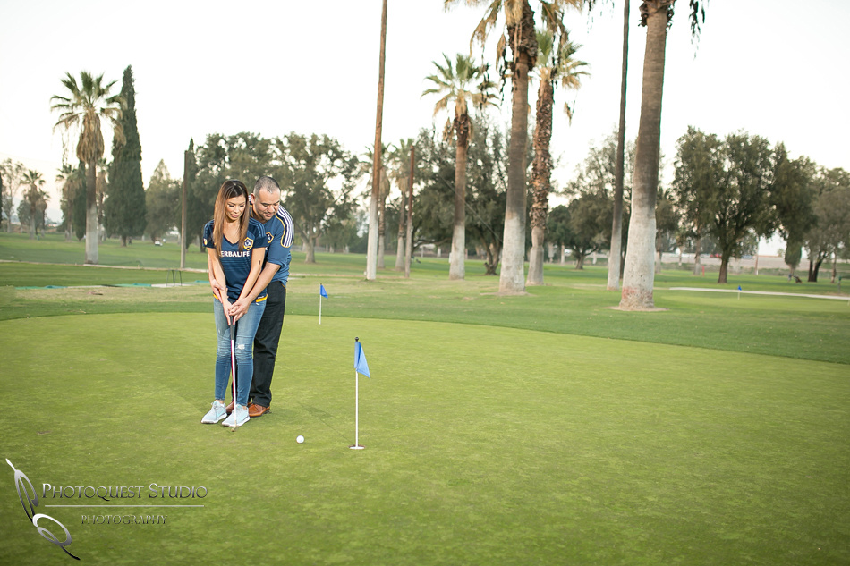 Engagement photo and golf at Fairmount Park
