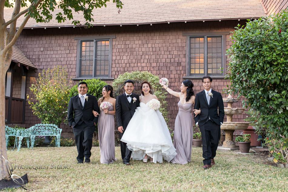 happy bridal party at Chapel of Orange