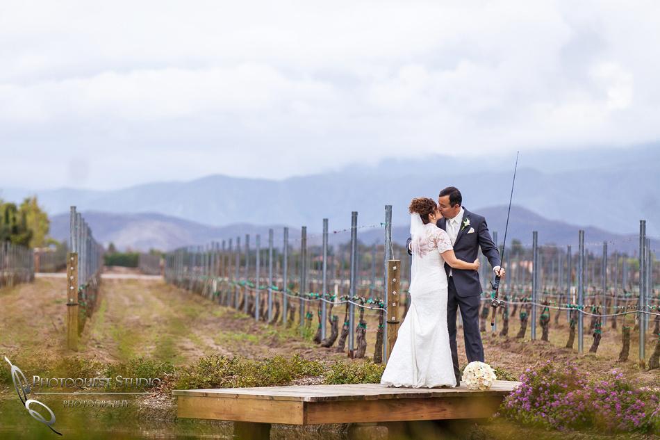 Wedding, fishing, kiss by Temecula Photographer