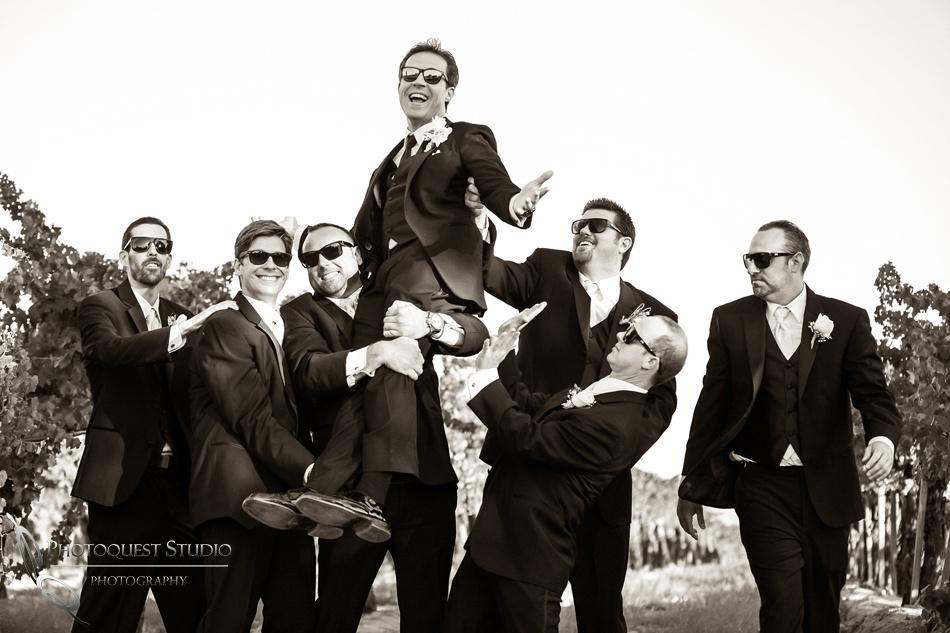 Happy happy groom and groomsmen