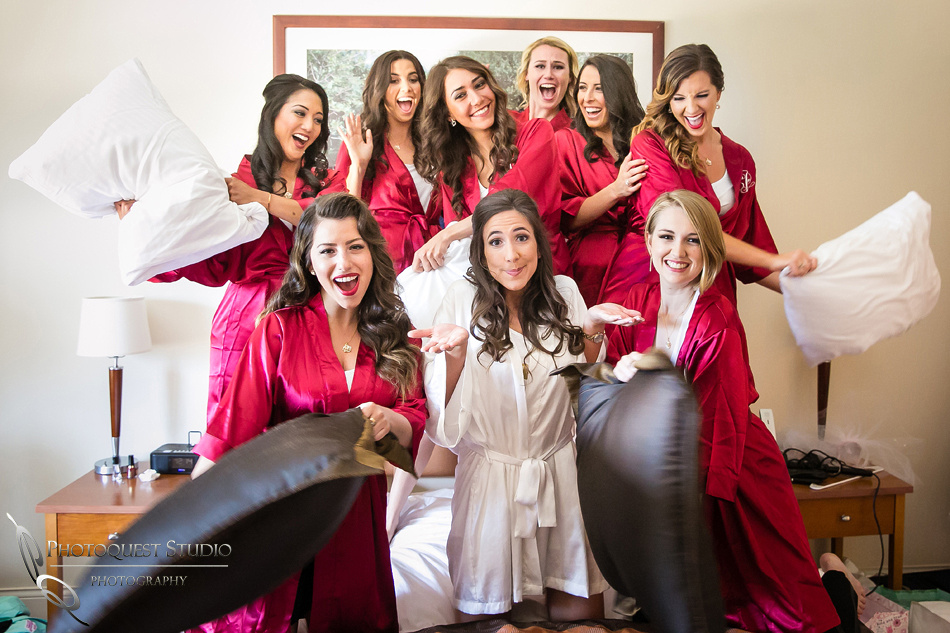 bride and bridesmaid pillows fight by temecula wedding photographer