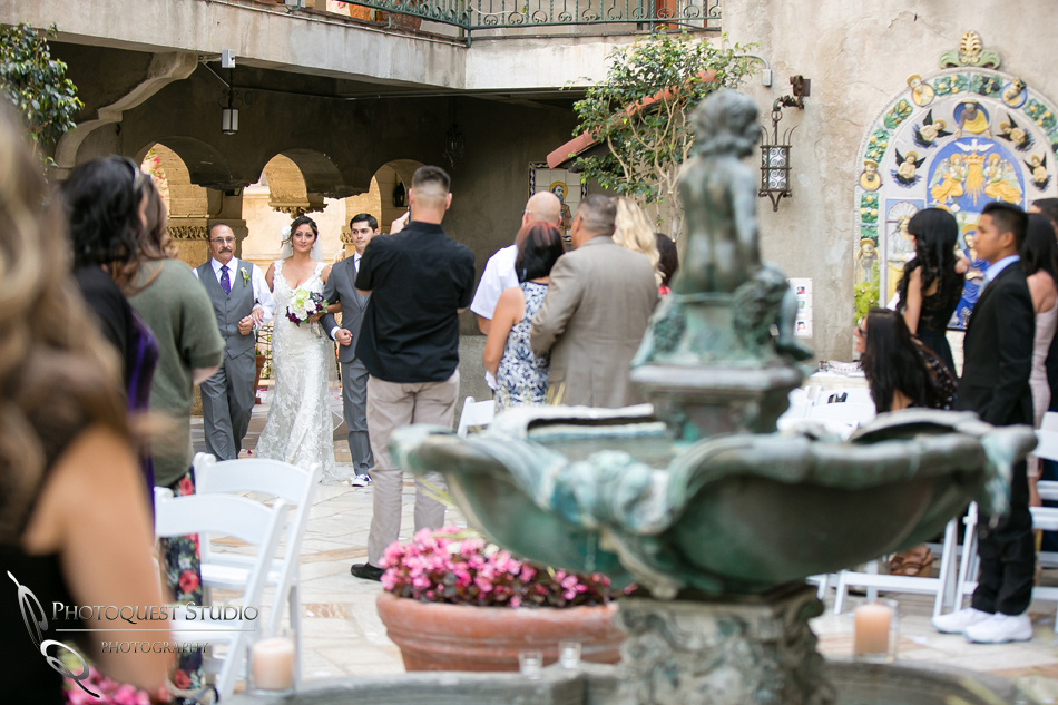 Bride enter the ceremony at Mission Inn Hotel wedding