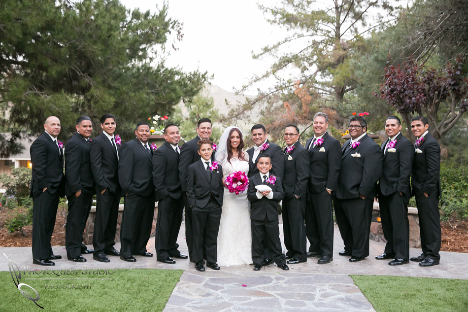 the wedding couple and the groomsmens