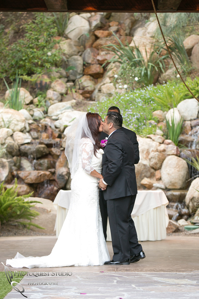 the first kiss at pala mesa resort wedding
