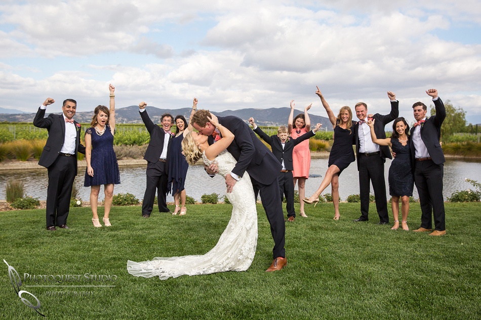 Wedding at Ponte Winery by Temecula Photographer Kiss and cheers