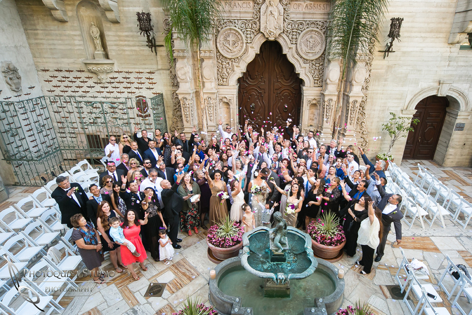 Mission Inn Hotel Wedding group Photo by Riverside Wedding Photographer of Photoquest Studio