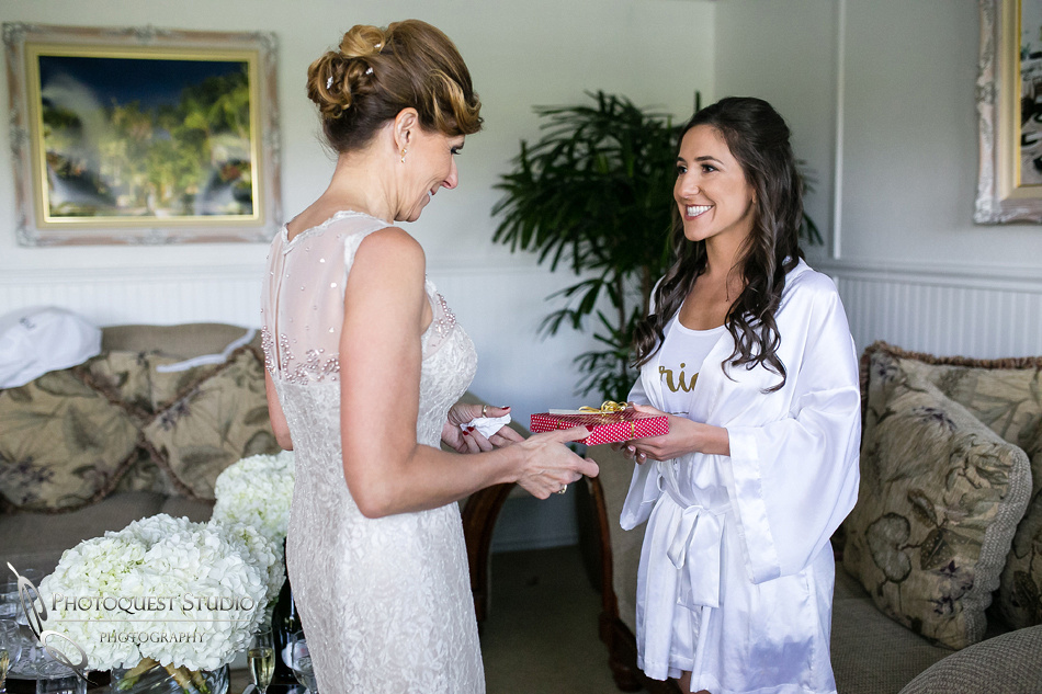 bride giving her mom gift