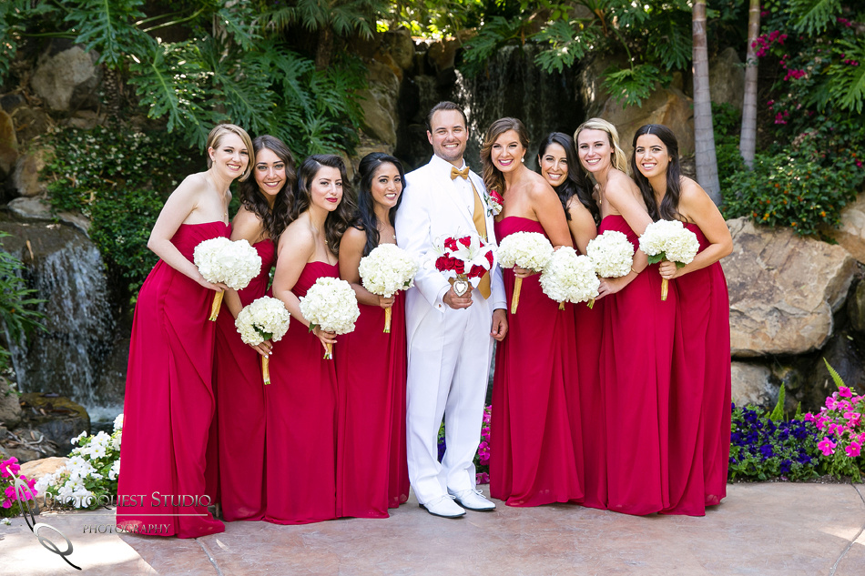 bridesmaids and the groom at Grand Tradition Estate Fallbrook by Temecula Wedding Photographer