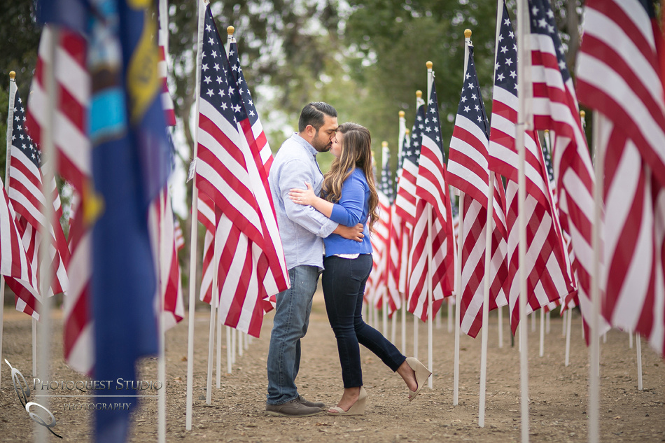 memorial day engagement photo at san juan capistrano